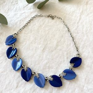 Vintage Coro Blue Leaf Necklace Choker